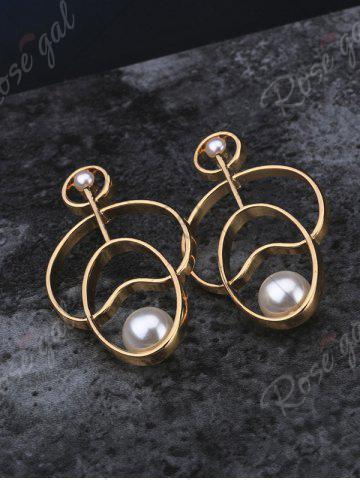 Fancy Faux Pearl Embellished Hollow Out Stud Earrings - GOLDEN  Mobile