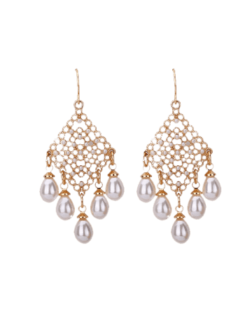 Outfit Faux Pearl Embellished Fish Hook Chandelier Earrings - GOLDEN  Mobile