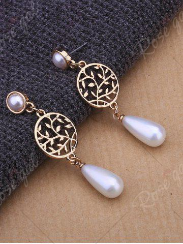 Latest Faux Pearl Pendant Round Life Tree Earrings - GOLDEN  Mobile