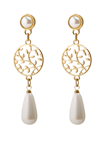 Affordable Faux Pearl Pendant Round Life Tree Earrings - GOLDEN  Mobile