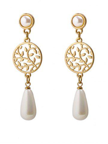 Online Faux Pearl Pendant Round Life Tree Earrings - GOLDEN  Mobile