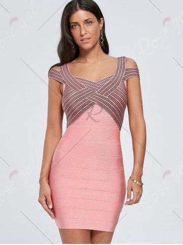 Unique Bodycon Striped Cap Sleeve Bandage Dress - S PINK Mobile