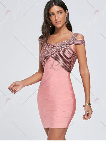 Chic Bodycon Striped Cap Sleeve Bandage Dress - S PINK Mobile