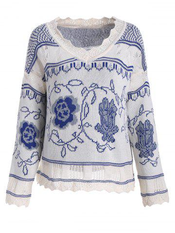 Store V Neck Knit Plus Size Graphic Sweater - XL BLUE Mobile
