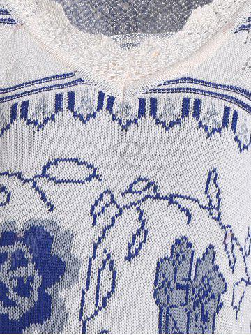 Chic V Neck Knit Plus Size Graphic Sweater - XL BLUE Mobile