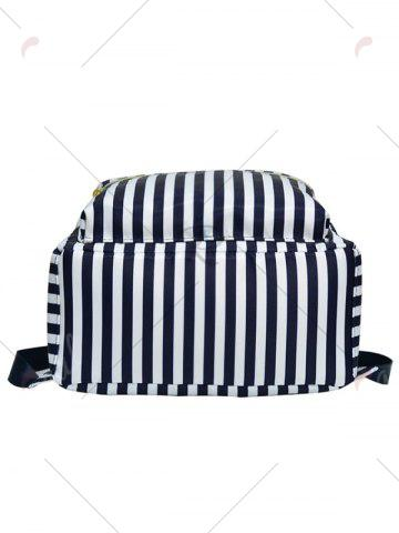 Outfits Color Block Polyester Backpack - BLUE AND WHITE  Mobile