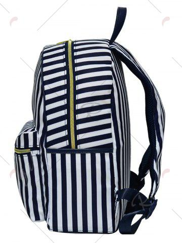 Chic Color Block Polyester Backpack - BLUE AND WHITE  Mobile
