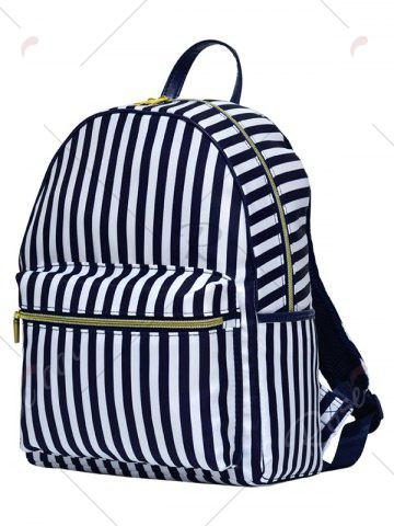 Buy Color Block Polyester Backpack - BLUE AND WHITE  Mobile
