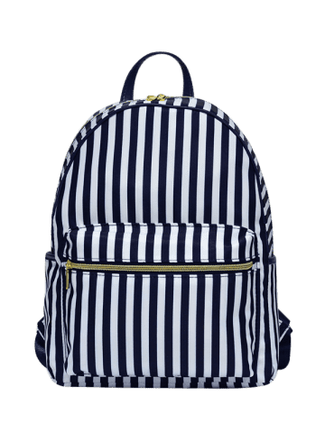 Unique Color Block Polyester Backpack - BLUE AND WHITE  Mobile