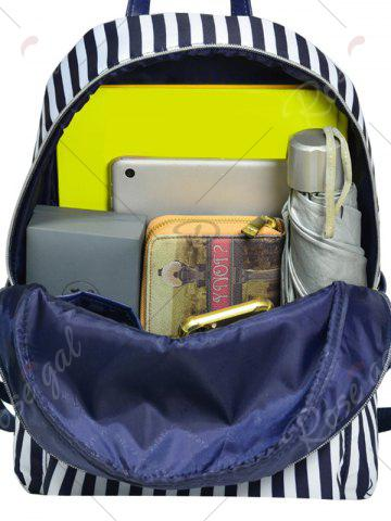 Fancy Color Block Polyester Backpack - BLUE AND WHITE  Mobile