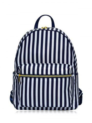 Trendy Color Block Polyester Backpack BLUE AND WHITE