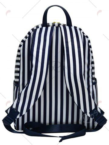 Latest Color Block Polyester Backpack - BLUE AND WHITE  Mobile