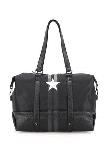Star Print Rivets Shoulder Bag Noir