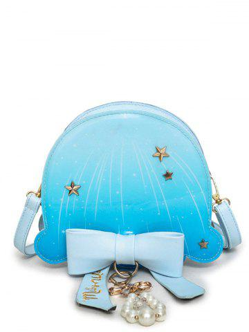 Star Pattern Bow Crossbody Bag - Windsor Blue - 39