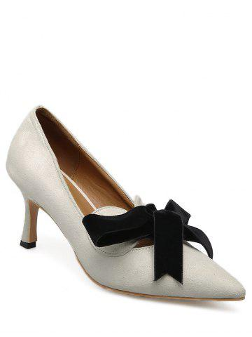 Bow Mid Heel Pointed Toe Pumps Abricot 37