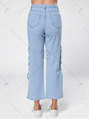 Latest Lace Up Palazzo Jeans - M BLUE Mobile