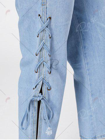 Affordable Lace Up Palazzo Jeans - M BLUE Mobile