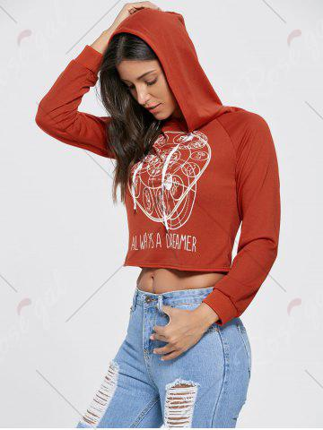 Outfit Drawstring Raglan Sleeve Cropped Graphic Hoodie - S BRICK-RED Mobile