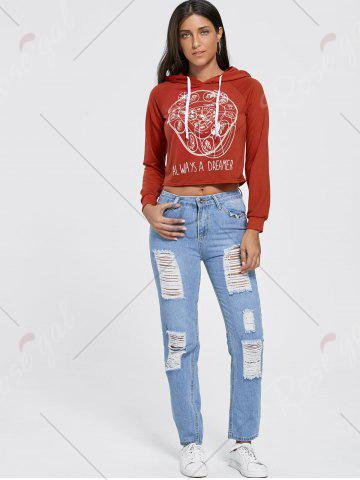 Store Drawstring Raglan Sleeve Cropped Graphic Hoodie - S BRICK-RED Mobile