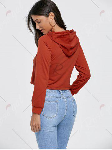 New Drawstring Raglan Sleeve Cropped Graphic Hoodie - S BRICK-RED Mobile