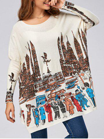 Pullover City Pattern Drop Shoulder Ribbed Sweater