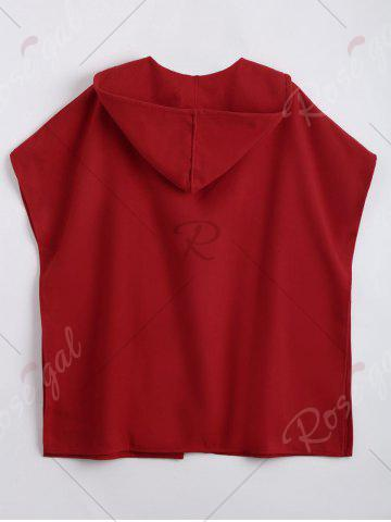 Outfit Plus Size Woolen Blend Hooded Poncho Coat - 5XL RED Mobile