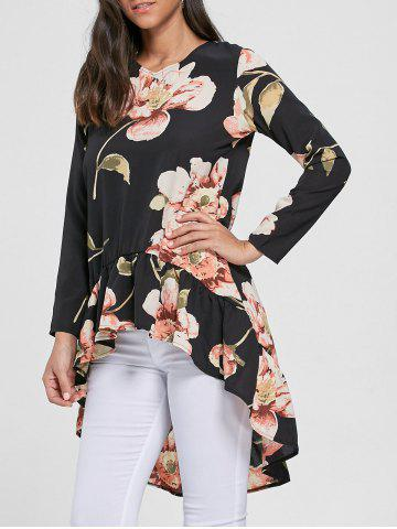 Affordable Floral Chiffon High Low Top - S BLACK Mobile