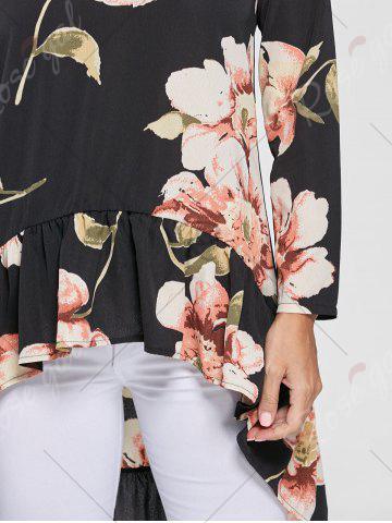 Best Floral Chiffon High Low Top - S BLACK Mobile