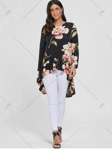 Hot Floral Chiffon High Low Top - S BLACK Mobile