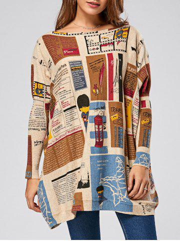 Pullover Letters Cartoon Pattern Drop Shoulder Sweater - Apricot - One Size