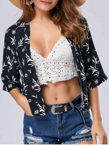 Outfit Collarless Floral Cardigan Short Kimono - L WHITE Mobile