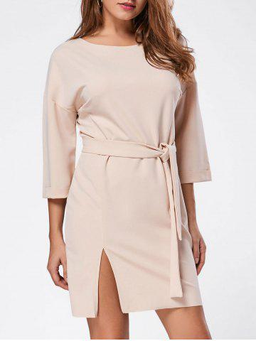 Belt Side Split Shirt Mini Dress - Light Apricot - Xl