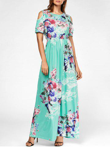 Fancy Cold Shoulder Floral Print Maxi Dress GREEN L