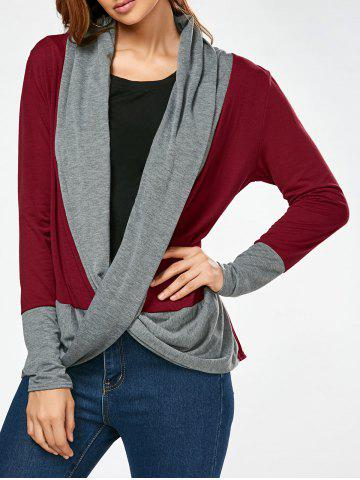 Store Color Block Long Sleeve Criss Cross Tee - XL WINE RED Mobile