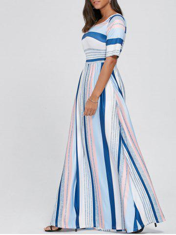 Latest Color Block Striped Tee Shirt Maxi Dress - S WHITE Mobile