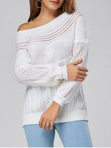 Shops Casual Hollow Out Cable Knit Sweater - L WHITE Mobile