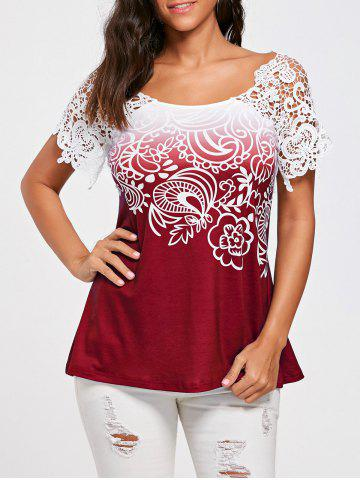Cheap Floral Lace Trim Cutwork T-shirt WINE RED 2XL