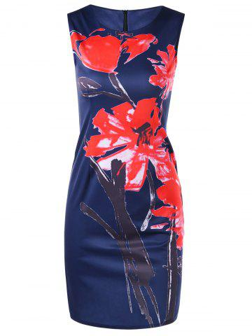 Shop Floral Print Mini Bodycon Fitted Dress - M OCEAN BLUE Mobile