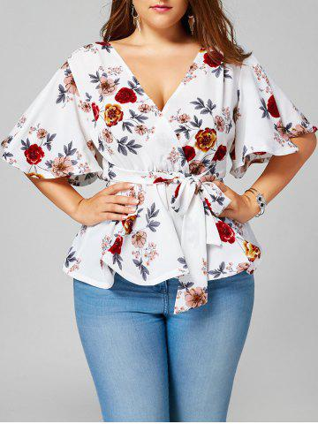 Cheap Plus Size Belted Floral Surplice Peplum Blouse - 2XL WHITE Mobile