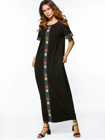 Embroidered Panel Loose Maxi Dress