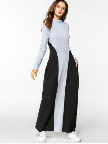 Chic Two Tone Long Sleeve A Line Maxi Dress
