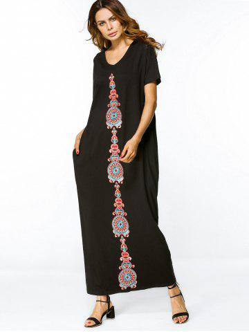 Embroidered Patches Loose Maxi Dress