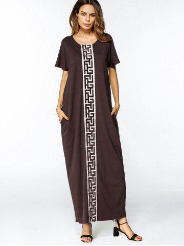 Online Patches Trim Loose Maxi Dress