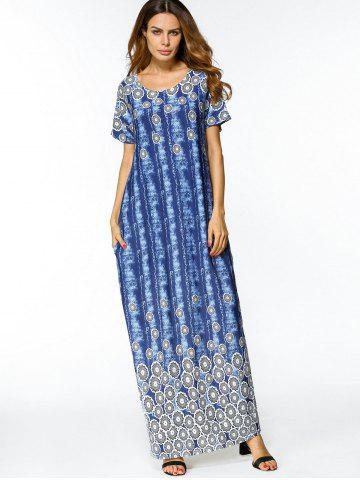Slit Tie Dyed Loose Maxi Dress