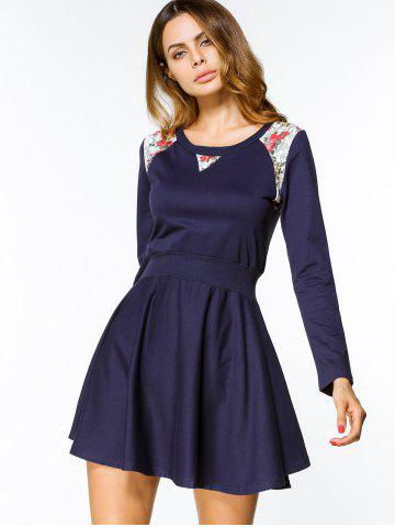 Discount Floral Panel Belted Long Sleeve Mini Dress