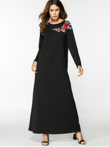 Affordable Floral Embroidered Long Sleeve Maxi Dress - M BLACK Mobile