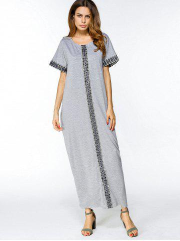 New Geometric Embroidered Trim Loose Maxi Dress GRAY M