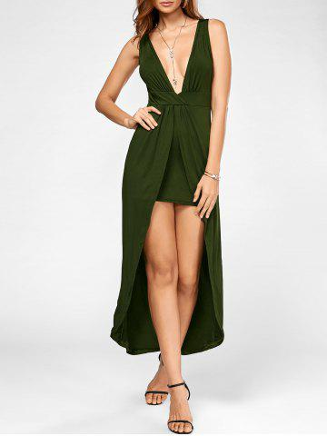 High Low Plunging Neck Party Maxi Dress