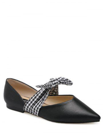 Cheap Tie Up Faux Leather Flat Shoes