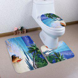 Beach Trees Pattern 3 Pcs Bath Mat Toilet Mat - BLUE